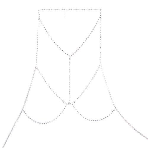 Vektenxi Premium-Qualität Bikini Body Chain Metall Body Chain Brust-BH Hollow Statement Choker Halsbänder, Silber