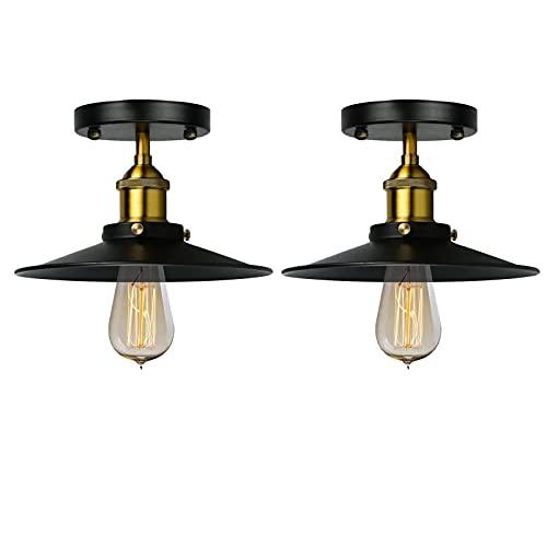 DOXUNGOO Lámpara de techo vintage con pantalla de metal, lámpara de techo de granja, accesorios de techo industriales para pasillo,...