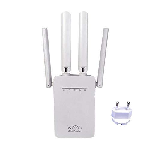 Seasaleshop Repetidor Universal Wi-Fi AC1200Dual Band 2.4/5G 4-Antenna Router repetidor WiFi augmente la Alcance de señal Wi-Fi hasta difícil Zonas inatteignables o a cbler