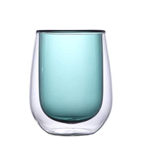 Doble capa resistente al calor vidrio transparente aislado taza de leche taza de jugo taza de café taza de té creativa para el hogar