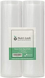 Nutri-Lock Vacuum Sealer Bags. 2 Pack 11x50 Commercial Grade Bag Rolls for FoodSaver, Sous Vide