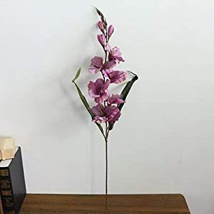 Silk Flower Arrangements Artificial and Dried Flower 75cm Artificial Flowers Orchid for Wedding Home decoraiton Accessories Fake Gladiolus Flowers Table Arrangement Foral - ( Color: Light Purple )