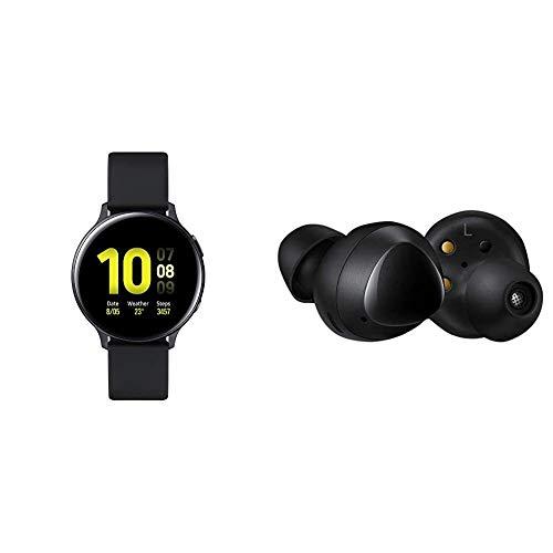 Samsung Galaxy Watch Active2 Bluetooth Aluminium 40 mm - Aqua Black (UK Version) & Galaxy Buds - Black (UK Version)