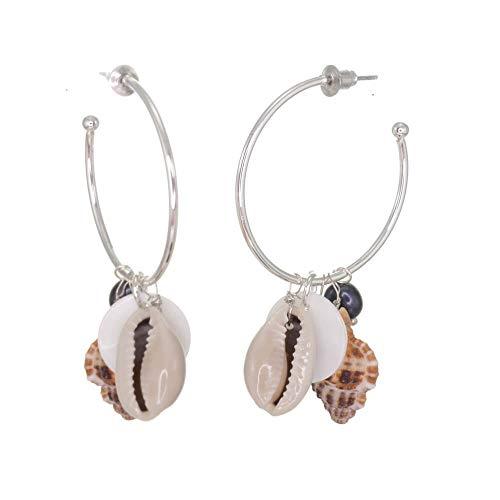 Hermosa joyería de moda: aros de plata 3/4 con perlas de agua dulce y conchas marinas (6 cm x 3,2 cm) (M302) A)