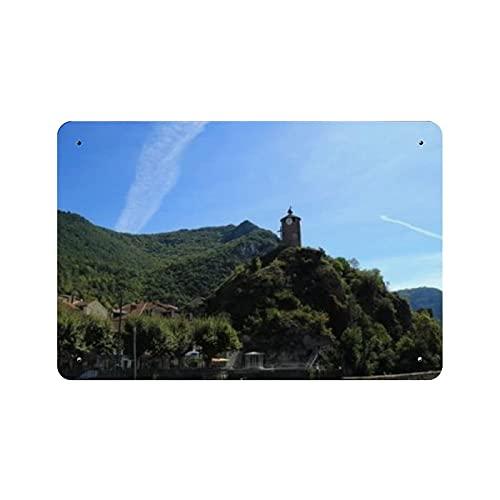 Torre del reloj antiguo en la colina, pintura de la naturaleza, decoración vintage para el hogar, letrero de arte de pared de 11.8 'x7.9', decoración de pared de café familiar, pintura de arte retro,