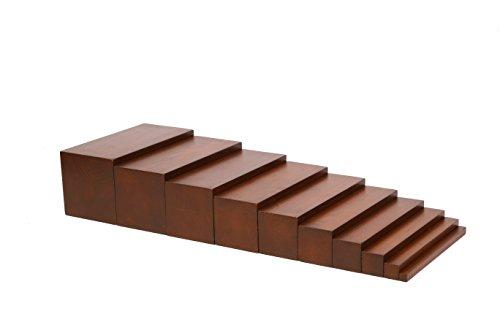 edu fun 91101 Montessori Holz Treppe braun pädagögisches Lernspielzeug für Kinder ab 3 Jahren 10 längliche Holzblöcke in gleicher Länge mit unterschiedlicher Größe Holzspielzeug