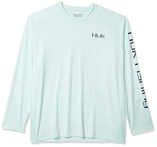 Huk Men's Pursuit Bill Fish Art Slam   Long Sleeve Performance Fishing Shirt With +30 UPF Sun Protection, Seafoam, Large