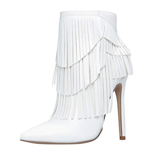 Qinpin Damen Fashion Rom Große Größe Reißverschluss Fransen High Thin Heels Stiefel Schuhe, Weiß weiß Größe: 38 EU