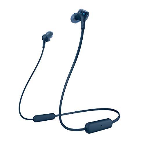 Sony WI-XB400L kabellose In-Ohr Kopfhörer (eingebauter Sprachassistent, Neckband Design, Bluetooth 5.0, NFC, Headset mit Mikrofon für Telefon & PC/Laptop) blau