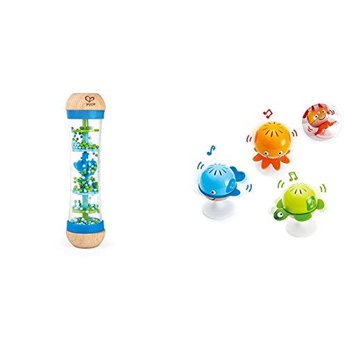 Hape Beaded Raindrops | Mini Wooden Musical Shake & Rattle Rainmaker Toy, Blue, Model Number: E0328B & Put-Stay Rattle Set | Three Sea Animal Suction Rattle Toys, Baby Educational Toy Set