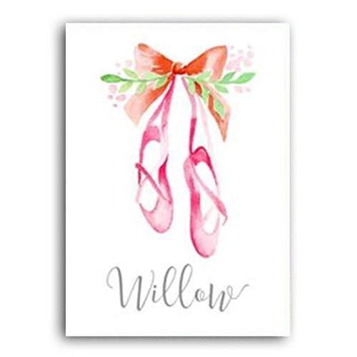 FFSMCQ eenvoudige minimalistische mode ballerina canvas schilderij wilgenroze schoenen persoonlijkheid affiche muurkunst afbeelding slaapkamer decoratie schilderij 40x50 cm no frame A