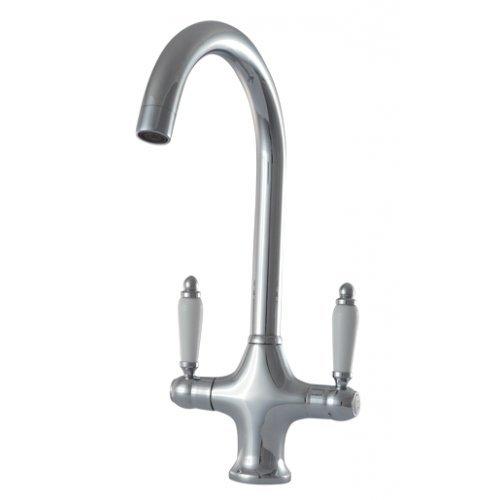 Mizzo Wasserhahn mit Nostalgische Landhausstil | Küchenarmatur Chrom | Retro Wasserkran Klassik | Mischbatterie | Küche Spültisch Amatur