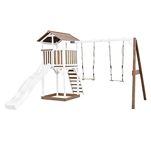 AXI Beach Tower Spielturm aus Holz in Braun & Weiß   Spielhaus für Kinder mit weißer Rutsche, Doppelschaukel und Sandkasten   Stelzenhaus für den Garten