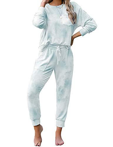 luvamia Women's Tie Dye Printed Pajama Sets Long Sleeve Tops and Pants Long PJ Sets Joggers Loungewear Sleepwear Nightwear Light Blue Medium