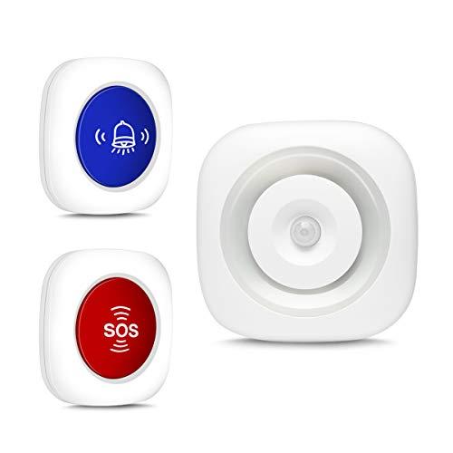 Timbre Inalámbrico Timbre Radio + Detector Infrarrojo Luz Nocturna con Sensor de Movimiento + Enfermera Llamada de Emergencia Llamada de Alarma de Pánico SOS, con CR123A y Súper Larga en Esper