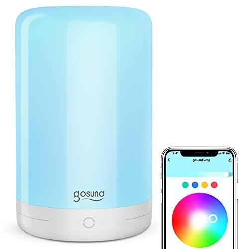Gosund Smart Nachttischlampe, Smart Home Alexa Tischlampe Kompatibel mit Alexa und Google Home, LED-Touch Nachtlicht für Schlafzimmer und Arbeitszimmer mit Einstellbare Farbe und Helligkeit, 2.4GHz