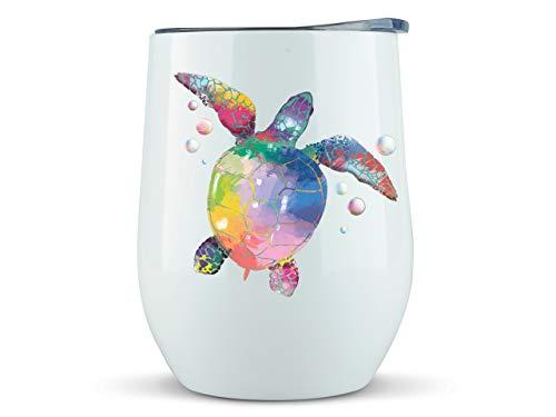Sea Turtle Gifts - Wine or Coffee Mug/Tumbler With Lid 12oz - Idea for Turtle Lover, Stuff, Glass Women, Decor