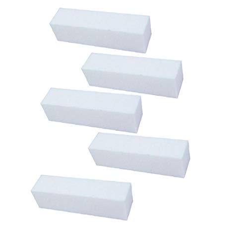 5pcs Blanc 4 Way Vernis à ongles Tampon Bloc Ponçage Ponçage Limes à ongles manucure pédicure Uv Gel Polisseuse outil