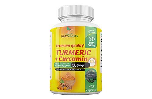 Turmeric Curcumin Capsules High Strength with Black Pepper 500 mg 60 Capsules