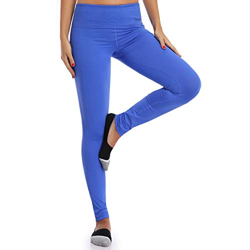 Wingslove Mujer Leggins Deportivos Yoga Runing Entrenar Legging Pantalones (Medium, Azul)