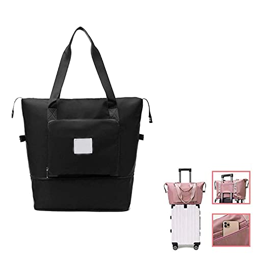New Hot Large Capacity Folding Travel Bag - Travel Lightweight Waterproof Foldable Carry Luggage Bag, Lightweight and Compact Travel Bags Weekend Bags for Women (Black)