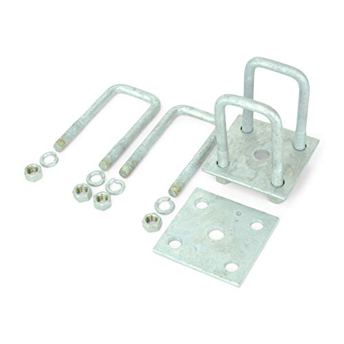 Sturdy Built Single Axle Galvanized U Bolt Kit for mounting Boat Trailer Leaf Springs for 2x2 axle - 4 13/16