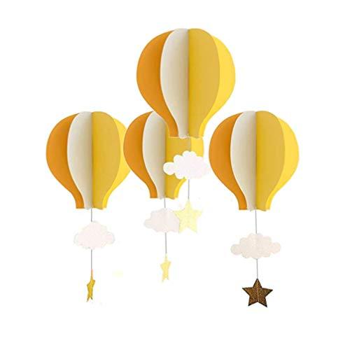 TOYANDONA 4 Piezas de Papel 3D Globos de Aire Caliente Globos de Aire Colgantes Nubes Estrellas decoración de Globos de Aire para cumpleaños Boda Baby Shower