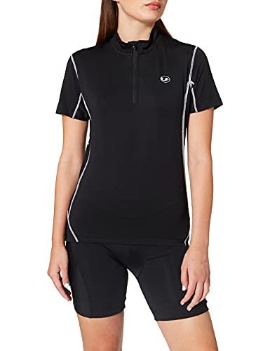 Ultrasport Fahrradshirt Mit Reißverschluss Maillot con Cremallera, Mujer, Negro, M