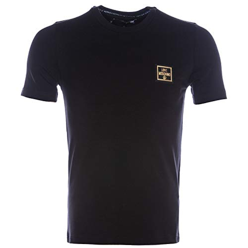 Love Moschino Slim Fit Short Sleeve T-Shirt_Squared Logo Badge Camiseta, (Black C74), XX-Large para Hombre