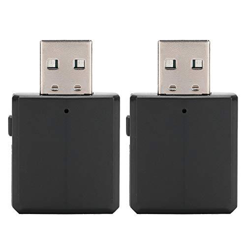 Pwshymi Receptor de transmisor de Audio Bluetooth portátil 2 Piezas estéreo 2 en 1 Adaptador Mini para TV computadora de Coche