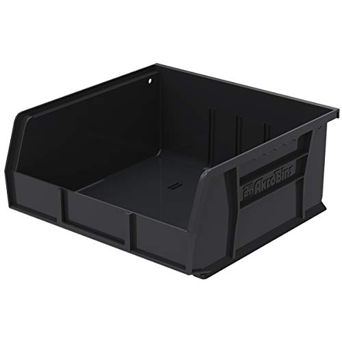 Akro-Mils 30235 AkroBins Plastic Storage Bin Hanging Stacking Containers, (11-Inch x 11-Inch x 5-Inch), Black, (6-Pack)