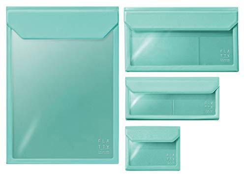 キングジム バッグインバッグ フラッティ [FLATTY] A4タテ型+封筒+ペンケース+カード 4種サイズ ミントグリーン色 5316+5362+5358+5356mg 4種4個組み