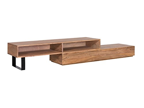 Woodkings® TV Bank Auckland variabel, Lowboard aus massiv Holz Natur, TV Regal Möbel flexibel stellbar, Wohnwand variabel, Fernsehbank modern (Holz - Akazie, 2 Fach)