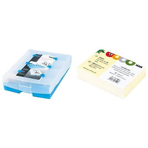 HAN CROCO 2-6-19 Karteikasten A8 9988-643, Lernbox in Transluzent-Blau & Lernmaterial & Karteikarten CROCO 9812 in Gelb A8 quer & farbig bedruckt – Stabiler Karteikarton – 10 x 100 Karten