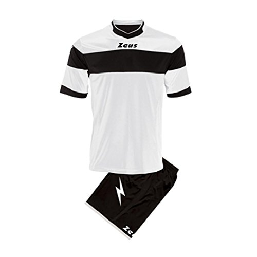 Zeus - Equipement football maillot + short Apollo - Couleur : Blanc Noir - Taille : M