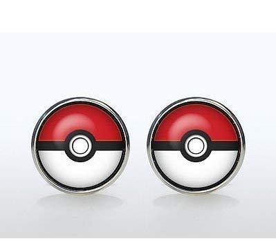 Pokemon-Manschettenknöpfe versilbert Pokeball Accessoires Geek Hochzeit