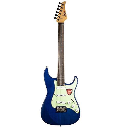 EART Solid-Body E-Gitarre SSS Single Coil Pickups Gitarre mit 6 Gitarrensaiten, rechtshändiges Palisandergriffbrett in Blau für Pop, Blues, Light Rock