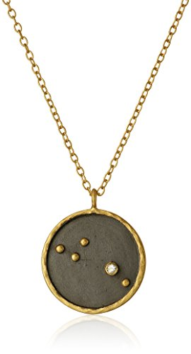 Satya Jewelry Zodiac Gold-Plated Diamond Aries Constellation Necklace (18-Inch)