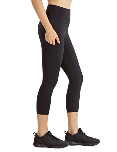 CRZ YOGA Women's Naked Feeling High Waist Gym Workout Capris Leggings with Pockets 19 Inches Black 19