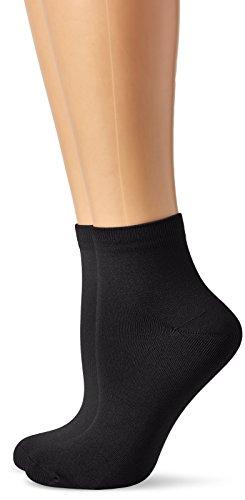 Dim Coton skin tobilleros Calcetines, Negro (Negro 127), One Size (Tamaño del fabricante:U) (Pack de 2) para Mujer