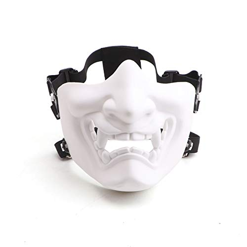 NINAT Airsoft Skull Mask Half Face Tactical Masks for Paintball Airsoft CS Survival Game Shooting Halloween Cosplay Party Movie Scary Masks White