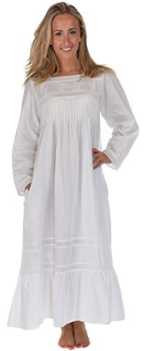 The 1 for U 100% Cotton Nightgown Violet with Pockets 7 Sizes White (XL)