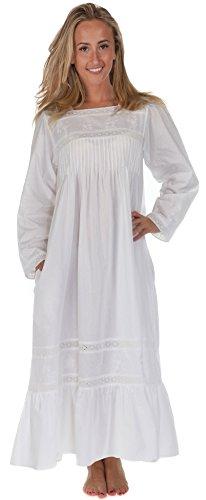 The 1 for U 100% Baumwolle Viktorianisches Stil Nachthemd mit Taschen - XS - XXXL, Weiß, M