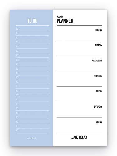 Blocco A5 per agenda settimanale, 50 pagine – To Do Block A5 Weekly Planner (blu)