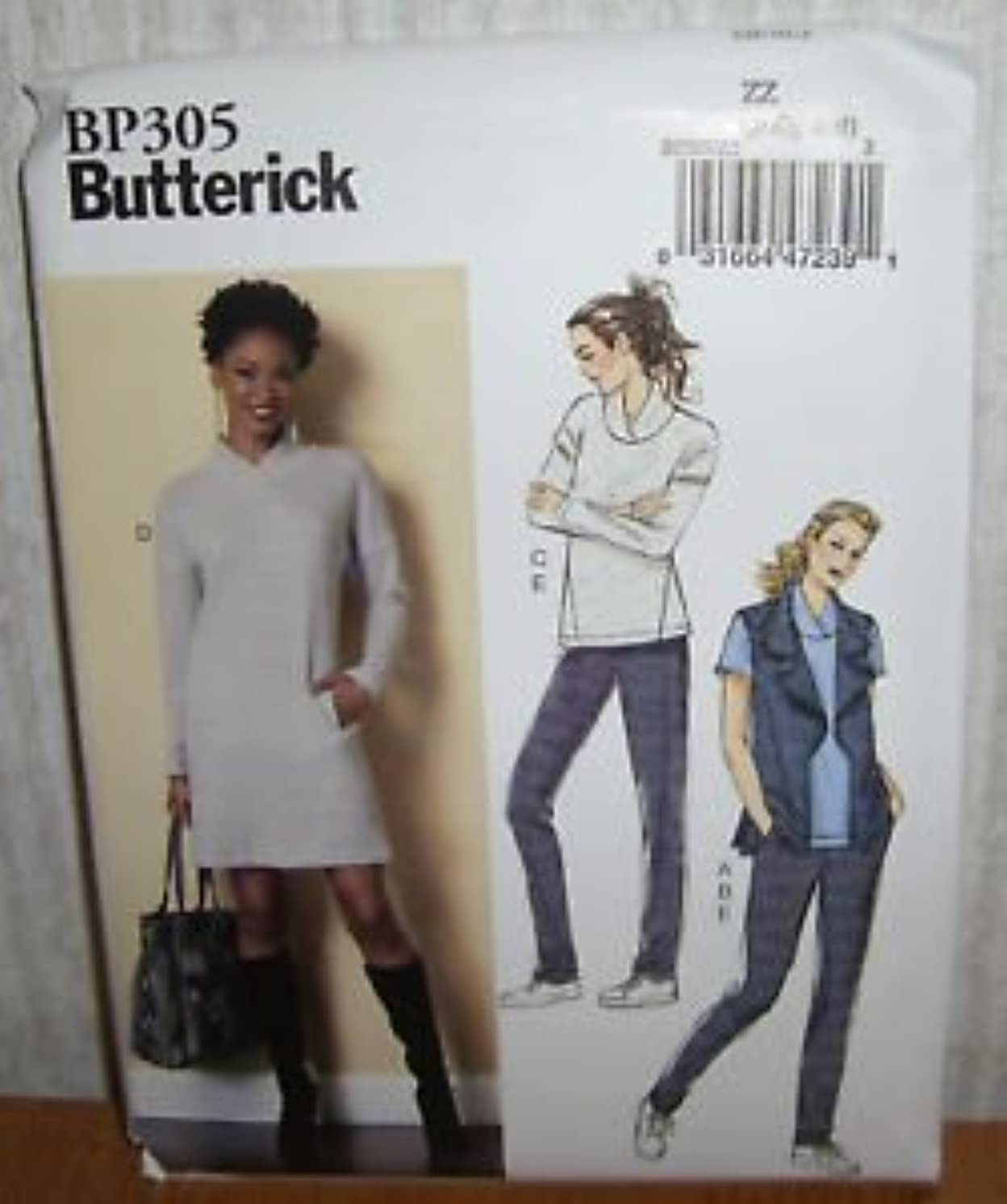 Butterick Pattern #BP305 Misses Vest Tops Dress and Pants Sizes Xsm-Med (Xsm-Med)