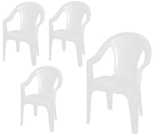 Stackable Garden Chair in White - Monoblock in Rattan Look Plastic - Stacking Chair Plastic Chair (Pack of 4) - White
