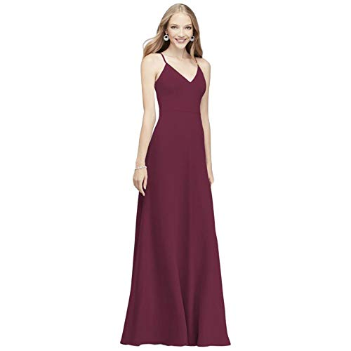 David's Bridal Chiffon V-Neck Spaghetti Strap Bridesmaid Dress Style F19935, Wine, 18