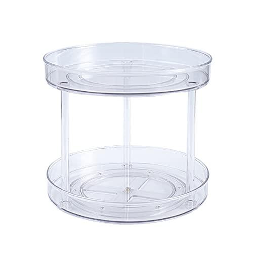 Mokyler Estante giratorio de 2 niveles 360, organizador multifuncional para especias transparente, soporte de almacenamiento de alimentos para mesa de comedor, gabinetes de cocina