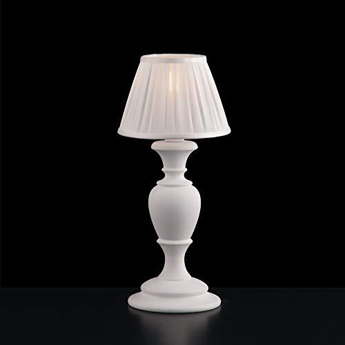 Lámpara de madera clásica provenzal blanca Shabby Chic 1 luz flor