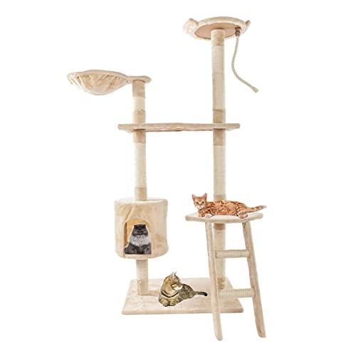 Tiragraffi per gatti e torre, centro attività multi-livello casa per gattini con condominio, alto mobile per gatti, torre da arrampicata per gatti interni, grande, beige